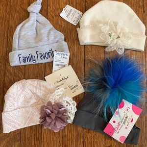 4 Newborn Boutique Fancy Infant hats